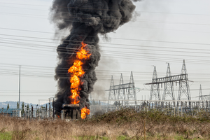 Fire at a power substation