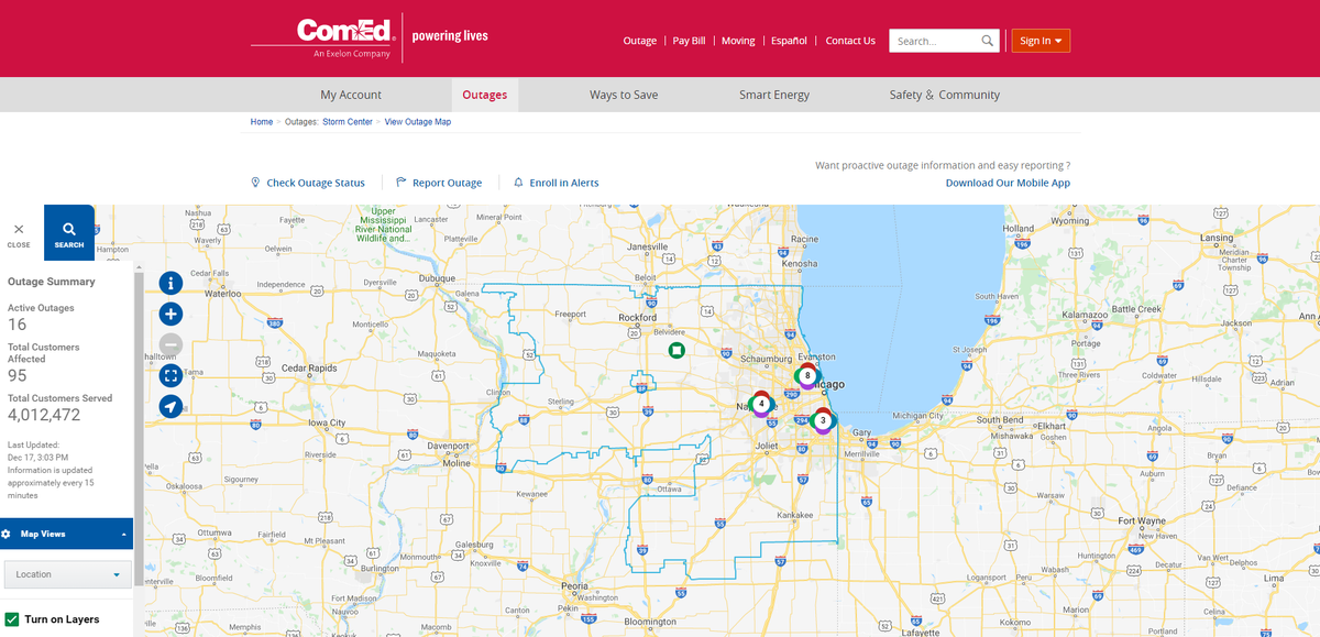 Comed Enhances Online Interactive Outage Map T D World
