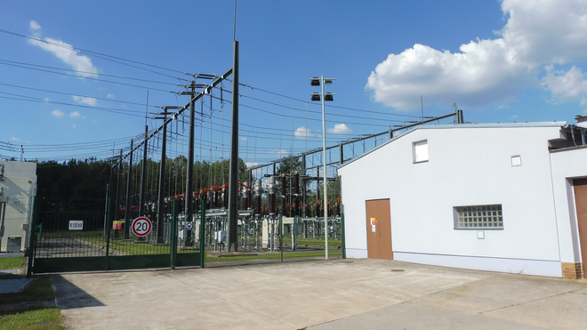 The 110/22-kV Mydlovary grid substation in South Bohemia, Czech Republic.
