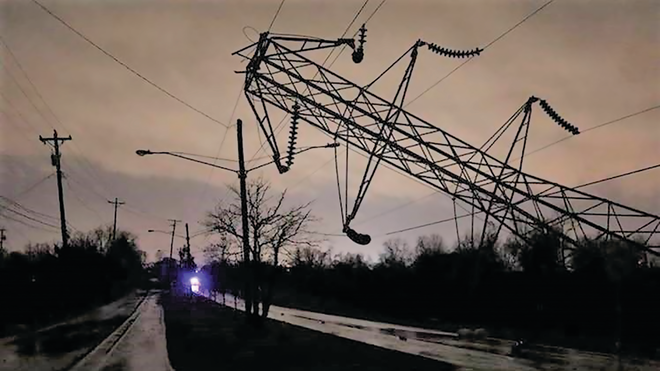 A TVA transmission tower lays on the ground after and EF-3 tornado ripped through the Nashville area March 4.