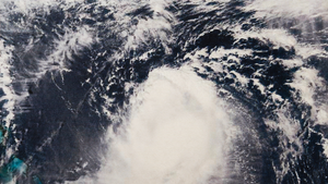A satellite image of a hurricane