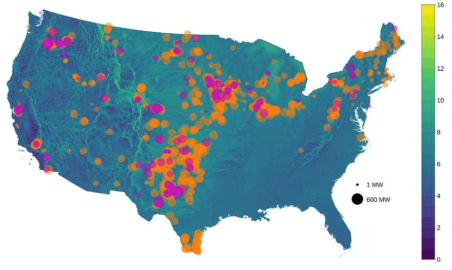 Older (pre-2008 commercial online date) plants are shown in pink and newer plants in orange. The size of each dot is proportional to the nameplate capacity of the plant. The background map shows the annual average wind speed (m/s) at 80 m above surface level.
