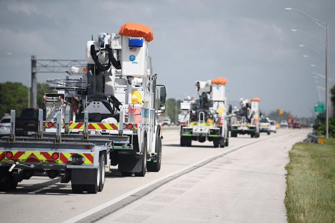 FPL deploys more than 900 lineworkers and contractors to support Entergy Louisiana and Entergy Texas in post-storm restoration efforts.