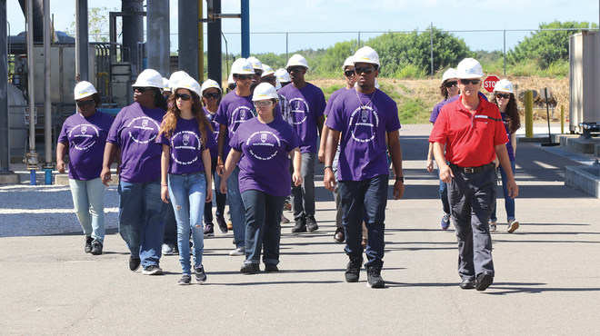 Students toured the Duke Energy Bartow Power Plant in St. Petersburg, Florida, so they could better understand how much work it takes for the power to travel from generation, through all the poles and wires, before the lights come on at home.