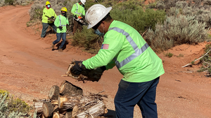 In the process of managing vegetation within the transmission line's right of way, crews were able to provide the Navajo Nation with useful firewood.